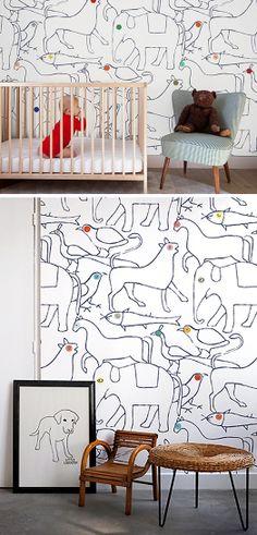 Cush and Nooks: Minakani Lab Wall Coverings-Bien fait animal wallpaper