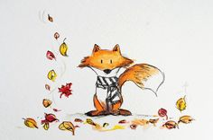 Meet Charlie the Fox. Yesterday he received a scarf his grandma knitted to keep him warm. He thinks that now he's ready for Fall, which is his favourite season. Charlie loves all the pretty colour...