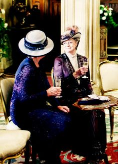 """dontbesodroopy: """" """"Maggie Smith as Violet Crawley, with Penelope Wilton as Isobel Crawley, Downton Abbey, the final episode """" """""""