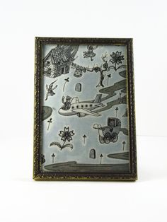 """Walk in the Park: framed swatch of rare Grayson Perry """"Flo"""" print fabric, made by Liberty of London by ohyouhandsomedevil on Etsy"""