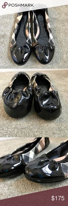 BURBERRY BALLERINA FLATS  Authentic very gently loved Burberry black patent leather toe & heel cap with Nova Check canvas body, leather insole, size 8 (38). Fits more like a 7.5. In excellent condition. No rips or tears inside or outside. Only selling because they are a bit too small on me. Smoke/pet free household. Burberry Shoes Flats & Loafers