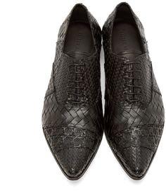 Haider Ackermann Black Woven Leather Oxfords