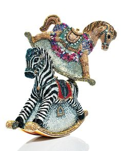 Judith Leiber Couture Toby Zebra Rocking Horse Evening Clutch Bag, Champagne/Multi