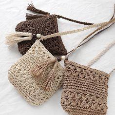crochet woven bag models step by step Crochet Diy, Crochet Tote, Crochet Baby Shoes, Crochet Handbags, Crochet Purses, Chunky Crochet, Vintage Crochet, Crochet Purse Patterns, Sewing Patterns