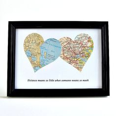 Personalized Map Hearts / Fathers Day Gifts / Long Distance Dad / Daughter to Father Gift / Gifts for Dad / Long Distance Friendship