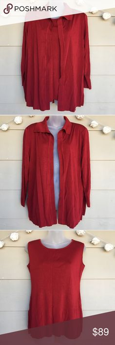 MISOOK • Red Cardigan & Blouse Twin Set - 2 Piece MISOOK : Red Cardigan & Blouse Set   --Size = Cardigan-Extra Small / Blouse-Small --In Excellent Pre-Owned Condition! --Beautiful rich red cardigan & blouse set. Slight shoulder padding on cardigan. Small slits at bottom sides of cardigan.   --Approx. Measurements laying flat:  Cardigan: •Armpit to armpit=22.5in •Length=27.5in •Sleeves Length=21.5in  Blouse: •Armpit to armpit=18in •Length=25in    ?? Questions ?? — Please ask! :) •All packages…