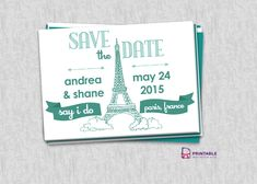 Save the Date – Paris Destination Wedding For customizations: printableinvitationkits[at]gmail[dot]com