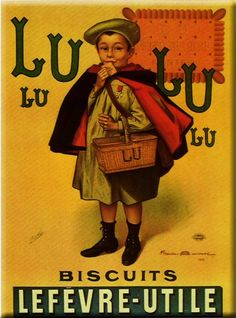 Antique French LU Lefevre-Utile, Little Schoolboy Poster To Frame - French Art… Vintage Advertising Posters, Advertising Signs, Vintage Advertisements, Vintage Posters, Retro Posters, Pub Vintage, Vintage Labels, Vintage Cards, Images Vintage