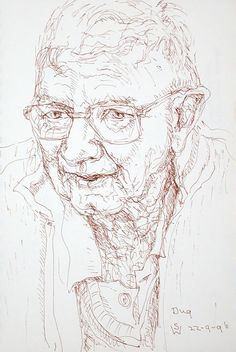 Dug Talking (Dugald Paterson, Annandale St resident) 1996 pen 21 x 14 cm by © Susan Dorothea White Drawings, Artist, Artists, Sketches, Drawing, Portrait, Draw, Grimm, Illustrations