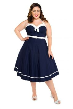 Sailor Swing Dress in Navy - Plus Size