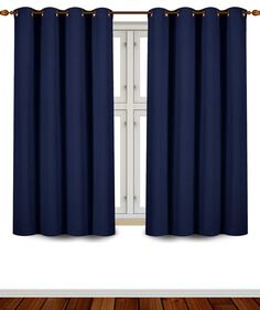 Utopia Bedding Blackout Room Darkening and Thermal Insulating Window Curtains/Panels/Drapes - 2 Panels Set - 8 Grommets per Panel - 2 Tie Backs Included (Navy, 52 x 63 Inches with Grommets) Kids Curtains, Cool Curtains, Blue Curtains, Room Darkening Curtains, Curtains For Sale, Blackout Curtains, Window Curtains, Bedroom Curtains, Modern Curtains
