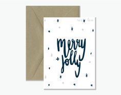 Hand Lettered Christmas Card  Merry and Jolly  by RosieRosieLou
