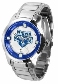 """Kentucky Wildcats 2012 NCAA National Basketball Champions Men's Titan Stainless Steel Watch by SunTime. $127.95. Stainless Steel Watch. 5 ATM water resistant. 44mm stainless case. Vibrantly colored team logo. Dual-button and inner deployment clasp. Big, bold, and masculine, Suntime presents the Titan! The Titan is an """"in your face"""" statement that commands attention. The Titan is constructed with a new 44mm, solid stainless case that houses a billboard-sized presentation of your..."""