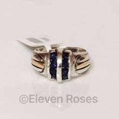 Sterling Silver & 18k Gold Blue Sapphire Ring Two Tone 950 Sterling Silver & 18k Yellow Gold - Channel Set Blue Sapphire, North/South Placement - US Size 6 - NWT NWT Retail Jewelry Rings