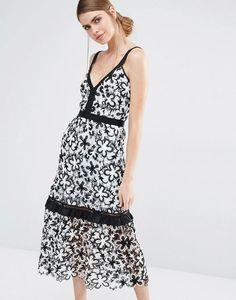 Self Portrait Line Floral Lace Midi Dress