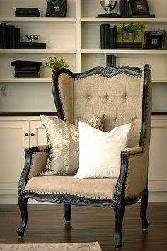 A beautiful button tufted, velvet chair