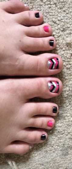 Chevron Pedicure! Pink, silver, and black. Regular pedicure with design