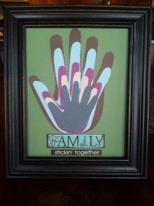 Family Handprint Picture Craft - Click image to find more Design Pinterest pins  (This could easily be turned into a religious craft by adding the hand of Jesus.)