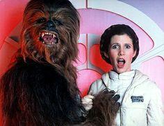 """Chewbaccas privates Fotoalbum - Auch ein Wookie will mal ... kuscheln. Zum Beispiel hinter den """"Star Wars""""-Kulissen mit """"Prinzessin Leia"""" Ca..."""