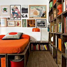Orange accents / crate bookcase & bed platform
