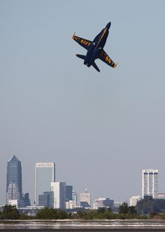 US Navy #BlueAngels perform during the 2010 NAS Jacksonville Airshow.  Downtown Jax makes the perfect backdrop for this event!