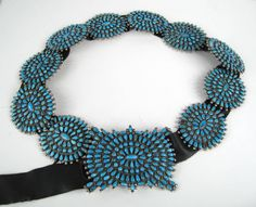Stunning turquoise Pawn petit point Concho Sterling Silver belt VMB image 2