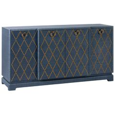 Bungalow 5 Janak Navy Large Cabinet ($2,855) ❤ liked on Polyvore featuring home, furniture, storage & shelves, cabinets, door cabinet, door storage cabinet, nailhead furniture, lacquer furniture and diamond furniture
