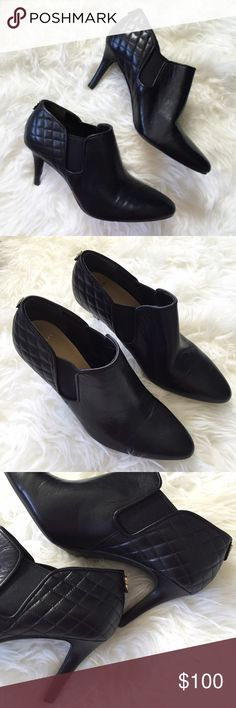 """Cole Haan Black Leather Quilted Back Ankle Booties Black leather ankle booties. Excellent condition. Slight front creases, but hardly any wear on bottom sole. Side elastic panels and quilted leather back. Gold """"CH"""" emblem on back top ankle. Heel height is 3"""". ❌NO TRADES OR PAYPAL❌ Cole Haan Shoes Ankle Boots & Booties"""