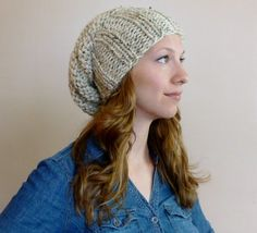 Hand Knit Slouch Beanie Hat CHOOSE COLOR, Oversized Slouchy Beehive Beanie, Hipster Hat, Chunky Hat, Winter Accessories, Winter Fashion by BoPeepsBonnets on Etsy, $32.00