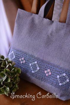 Smocked School Bag スモッキング刺繍のレッスンバッグ・グレー★オーダー♪|スモッキング刺繍教室 スモッキング・コルベイユ 新宿・恵比寿