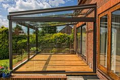 Designed to fit verandas and glass room with pent roof shapes at Eden Pergola Attached To House, Deck With Pergola, Outdoor Pergola, Pergola Shade, Patio Roof, Pergola Plans, Outdoor Rooms, Backyard Patio, Backyard Landscaping