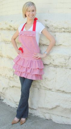 Feminine red and white check gingham ruffled full womans aporn
