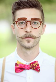 Hipster-chic, colorful bowtie, handlebar mustache // Dreamlove Photography