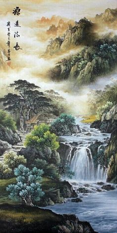 Natureza Asian Landscape, Chinese Landscape Painting, Japanese Landscape, Fantasy Landscape, Landscape Art, Landscape Paintings, Waterfall Paintings, Japan Painting, Japanese Artwork