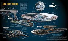 Cutaway illustration by Kemp Remillard for Popular Mechanics of Star Trek Beyond starships!