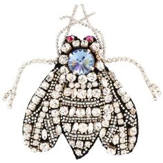 Rochas Crystal-Embellished Bug Brooch (€180) ❤ liked on Polyvore featuring jewelry, brooches, white, white jewelry and rochas