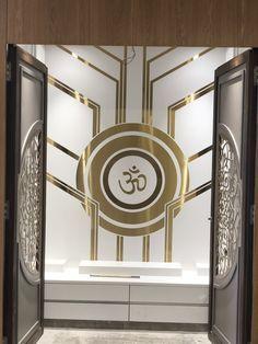 Temple Design Ideas unit With Mandir Temple Design Ideas Bedroom Tv Unit Design, Bedroom False Ceiling Design, Temple Room, Royal Room, Temple Design For Home, Interior Design Quotes, Mandir Design, Pooja Room Door Design, Puja Room