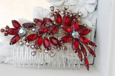 Bridal Hair Comb Red Bouquet Bridal Headband Bridal by bridalwear, $95.00