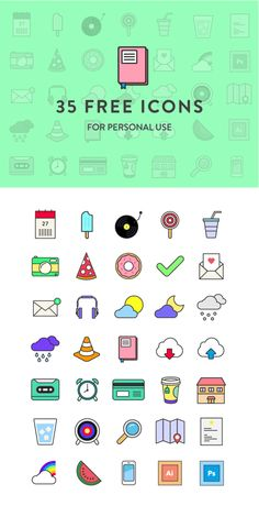 35 Colorful Icons for Free by Martina Cavalieri, via Behance
