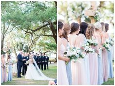 Lowndes Grove Plantation Wedding Bride and Groom with bridal party