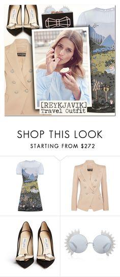 """Reykjavik Travel Outfits II"" by vampirella24 ❤ liked on Polyvore featuring Valentino, Balmain, Jimmy Choo, Linda Farrow, Ted Baker, travel, valentino, jimmychoo, balmain and edieparker"