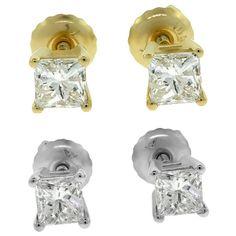 Diamantring / Diamantarmband / Diamantschmuck: Diamantohrstecker 1.00 Karat aus 585er Weiß-, Gelb...