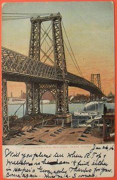 1906 NYC Vintage Postcard Williamsburg Bridge New York City 1900s by Christian Montone, via Flickr