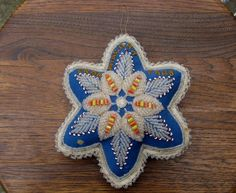Antique Native American Iroquois Beadwork Star Pin Cushion Niagara Falls Beaded