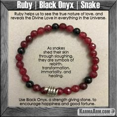 Mala Yoga bracelet - meditation| Karma Arm | mens womens charm chakra beaded stacks. Red Ruby Black Onyx Snake.