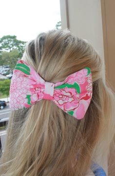 Lilly Pulitzer Hair Bow, I can make these! Great stocking stuffer that will jazz up an outfit STAT! <3
