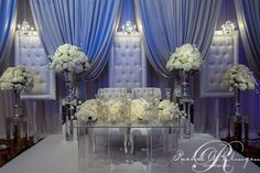 Silver satin Tiebacks with tufted french panels by Rachel A. Clingen