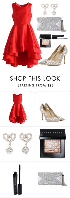 """""""Untitled #1359"""" by littledeath11 ❤ liked on Polyvore featuring Chicwish, Jimmy Choo, Bobbi Brown Cosmetics, Smashbox and BCBGMAXAZRIA"""