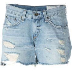 Rag & Bone /Jean Distressed Denim Shorts ($172) ❤ liked on Polyvore featuring shorts, blue, distressed denim shorts and blue shorts
