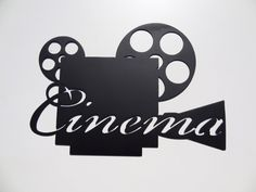 Cinema Word on Movie Projector Home Theater Decor Metal Wall Art